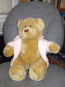 A yellow bear in a pink sweater